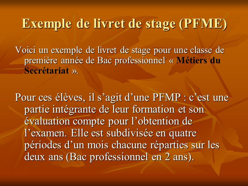 Exemple de livret de stage (PFME) Voici un exemple de livret de stage pour une classe de première année de Bac professionnel « ». Voici un exemple de