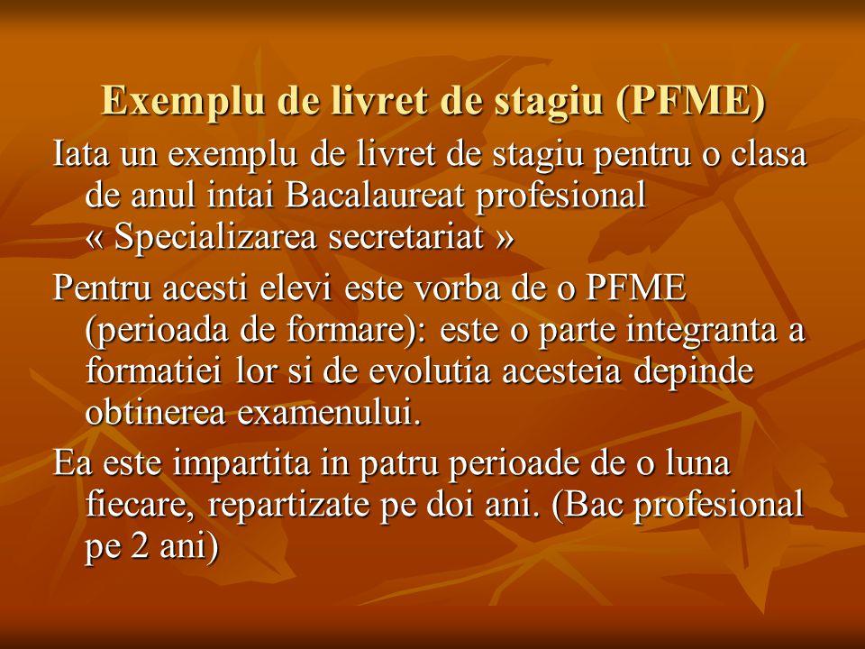 Exemplu de livret de stagiu (PFME) Iata un exemplu de livret de stagiu pentru o clasa de anul intai Bacalaureat profesional « Specializarea secretaria