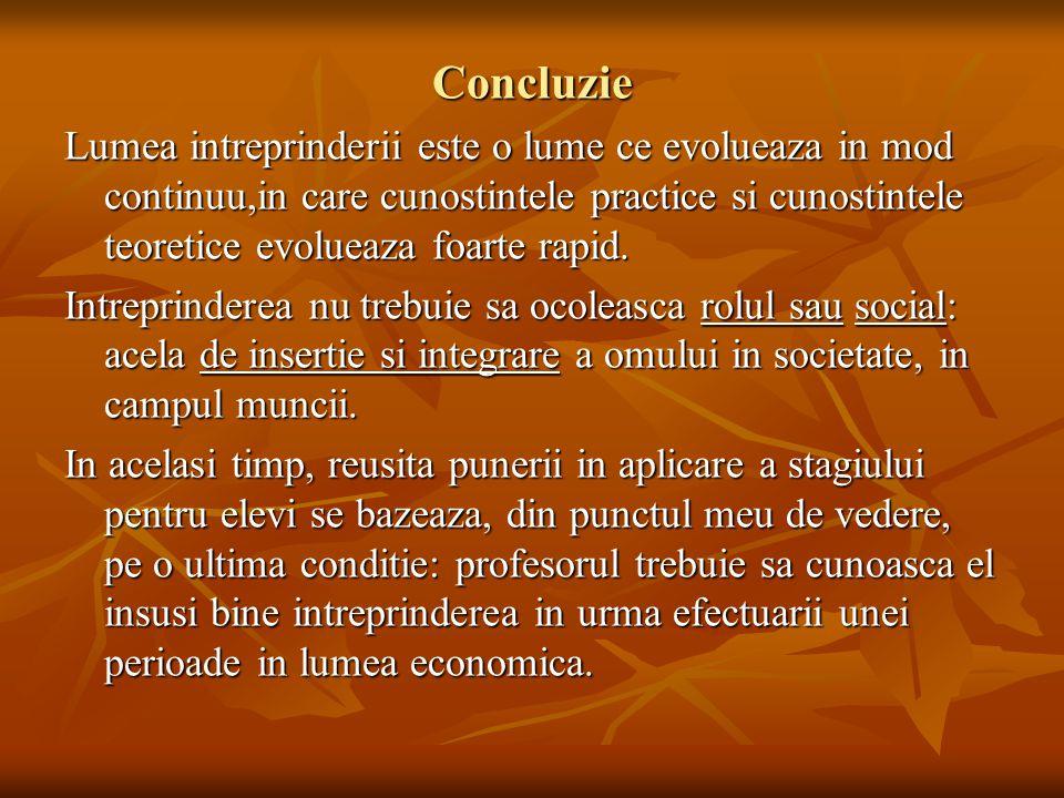 Concluzie Lumea intreprinderii este o lume ce evolueaza in mod continuu,in care cunostintele practice si cunostintele teoretice evolueaza foarte rapid