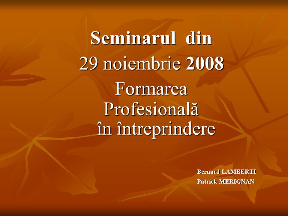 Seminarul din 29 noiembrie 2008 29 noiembrie 2008Formarea Profesională în întreprindere în întreprindere Bernard LAMBERTI Patrick MERIGNAN