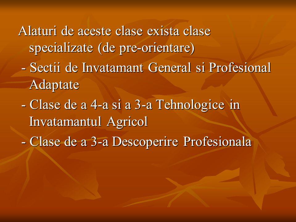 Alaturi de aceste clase exista clase specializate (de pre-orientare) - Sectii de Invatamant General si Profesional Adaptate - Sectii de Invatamant Gen