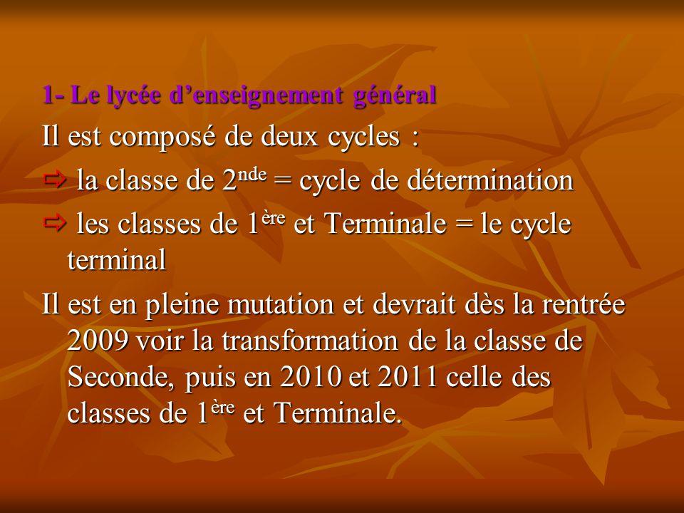 1- Le lycée d'enseignement général Il est composé de deux cycles :  la classe de 2 nde = cycle de détermination  les classes de 1 ère et Terminale =