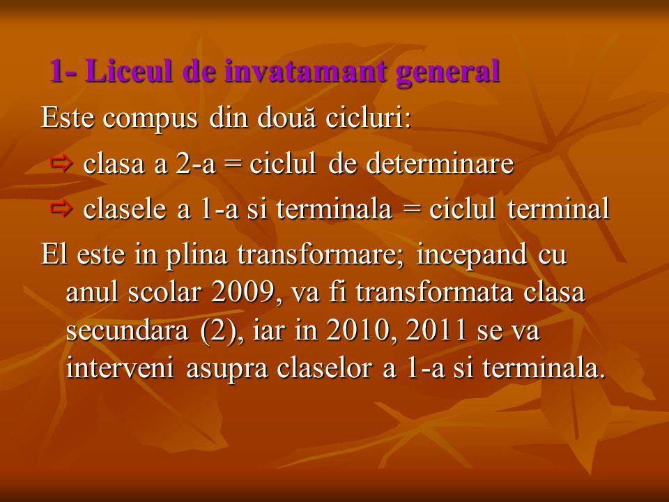 1- Liceul de invatamant general 1- Liceul de invatamant general Este compus din dou ă cicluri:  clasa a 2-a = ciclul de determinare  clasa a 2-a = c