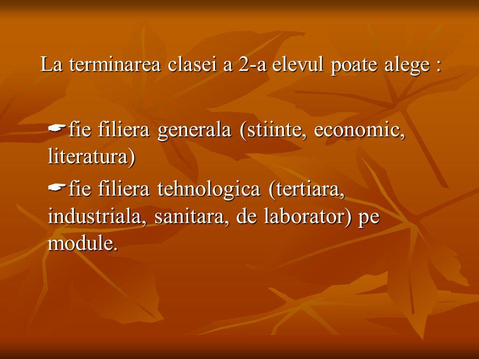 La terminarea clasei a 2-a elevul poate alege : La terminarea clasei a 2-a elevul poate alege :  fie filiera generala (stiinte, economic, literatura)