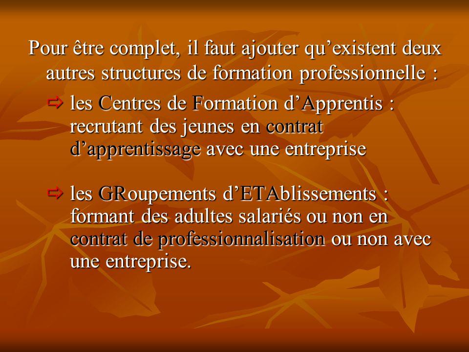 Pour être complet, il faut ajouter qu'existent deux autres structures de formation professionnelle :  les Centres de Formation d'Apprentis : recrutan
