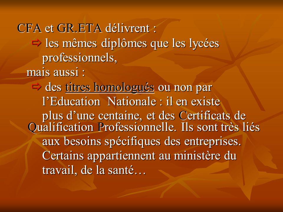 CFA et GR.ETA délivrent :  les mêmes diplômes que les lycées  les mêmes diplômes que les lycées professionnels, professionnels, mais aussi : mais au