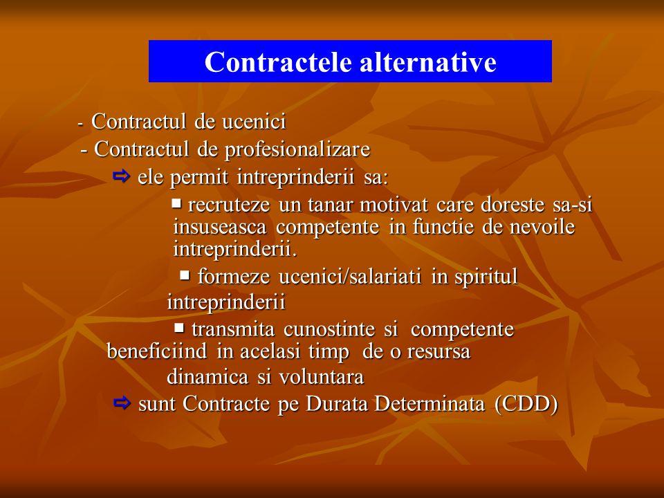 - Contractul de ucenici - Contractul de ucenici - Contractul de profesionalizare - Contractul de profesionalizare  ele permit intreprinderii sa:  el