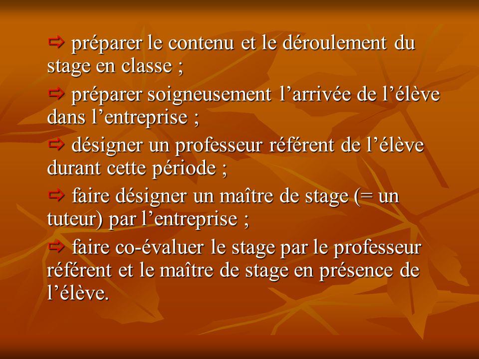  préparer le contenu et le déroulement du stage en classe ;  préparer soigneusement l'arrivée de l'élève dans l'entreprise ;  désigner un professeu