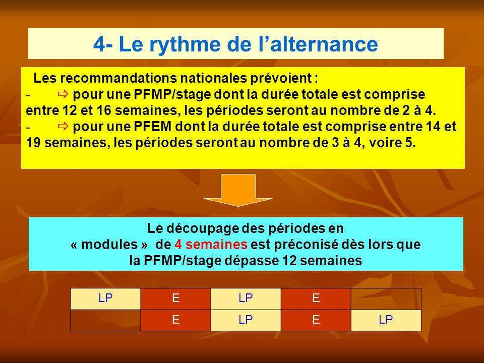 4- Le rythme de l'alternance Les recommandations nationales prévoient : -  pour une PFMP/stage dont la durée totale est comprise entre 12 et 16 semai