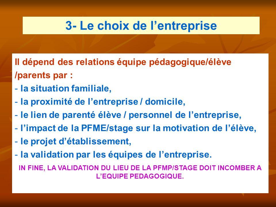 3- Le choix de l'entreprise Il dépend des relations équipe pédagogique/élève /parents par : - la situation familiale, - la proximité de l'entreprise /
