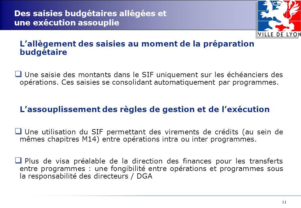 11 Des saisies budgétaires allégées et une exécution assouplie L'allègement des saisies au moment de la préparation budgétaire  Une saisie des montants dans le SIF uniquement sur les échéanciers des opérations.