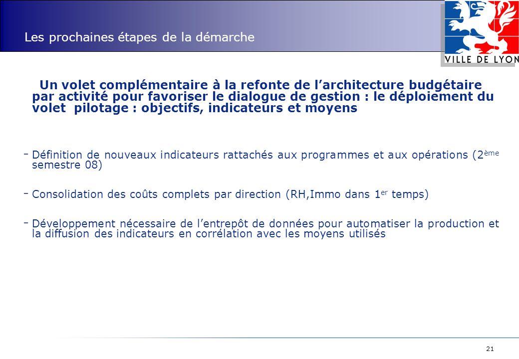 21 Les prochaines étapes de la démarche Un volet complémentaire à la refonte de l'architecture budgétaire par activité pour favoriser le dialogue de g