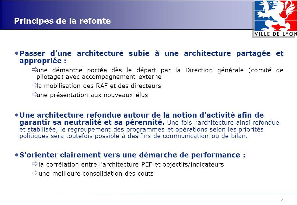5 Principes de la refonte Passer d'une architecture subie à une architecture partagée et appropriée :  une démarche portée dès le départ par la Direc