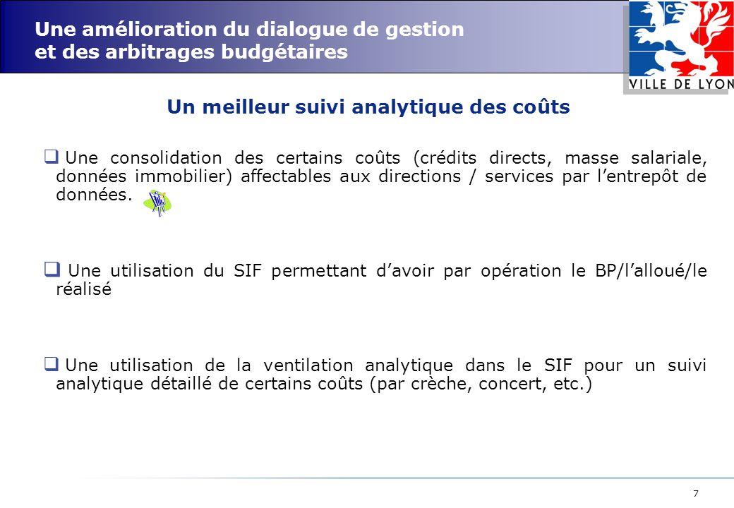 7 Une amélioration du dialogue de gestion et des arbitrages budgétaires  Une consolidation des certains coûts (crédits directs, masse salariale, données immobilier) affectables aux directions / services par l'entrepôt de données.