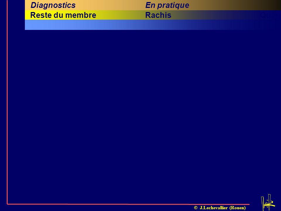 © J.Lechevallier (Rouen) Cinquième titreSixième titreRachisQuatrième titreHancheReste du membre En pratiqueMessages Investigations complémentaires DiagnosticsProblématiqueClinique Cadre Nosol.Diagnostic Infectieux Arthrite OMA IschémiqueOPH InflammatoireSAT TumoralTous MalformatifLCH Neurologique- DystrophiqueEFS TraumatiqueApophyses Rhumatismal- 13579111315