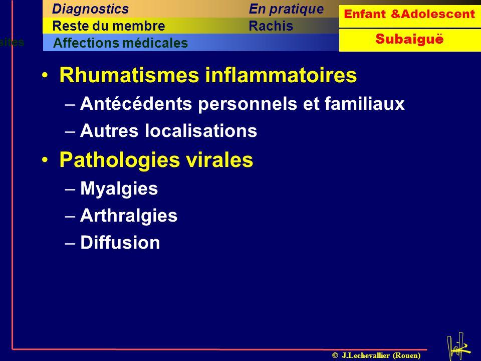 © J.Lechevallier (Rouen) Arthrite septiqueOstéomyéliteILMIFracture sous-périostéeTraumatismes et apophysites Affections médicales Cinquième titreSixiè