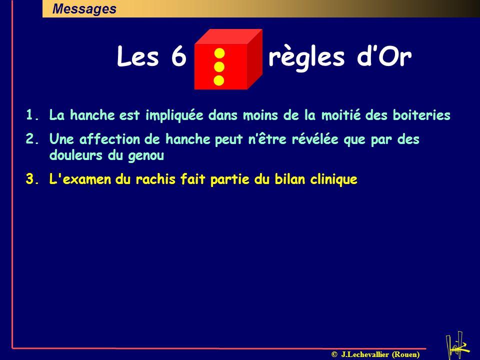 © J.Lechevallier (Rouen) En pratiqueMessages Investigations complémentaires DiagnosticsProblématiqueClinique 1.La hanche est impliquée dans moins de l
