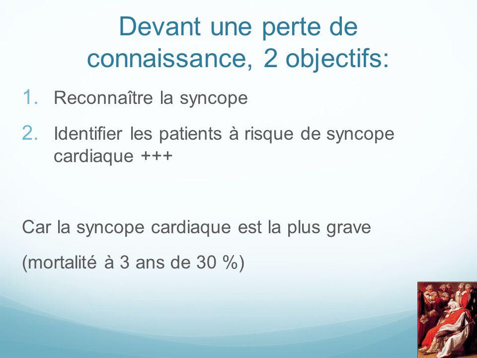 Devant une perte de connaissance, 2 objectifs: 1. Reconnaître la syncope 2. Identifier les patients à risque de syncope cardiaque +++ Car la syncope c