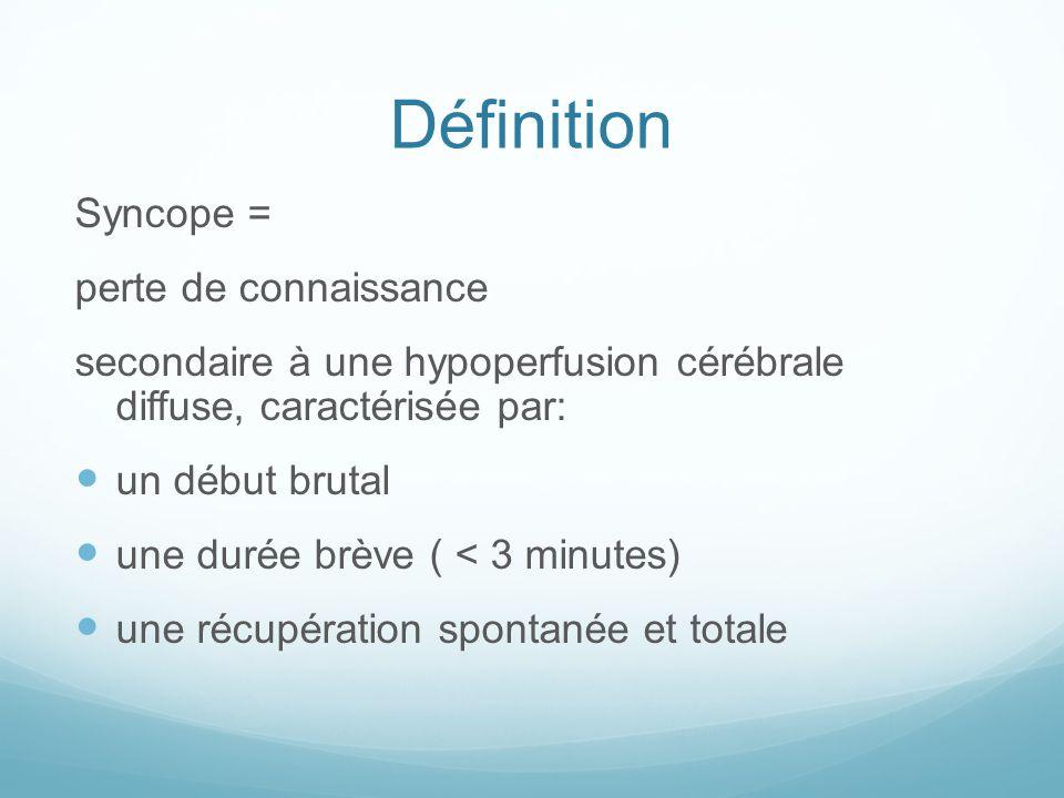 Définition Syncope = perte de connaissance secondaire à une hypoperfusion cérébrale diffuse, caractérisée par: un début brutal une durée brève ( < 3 minutes) une récupération spontanée et totale