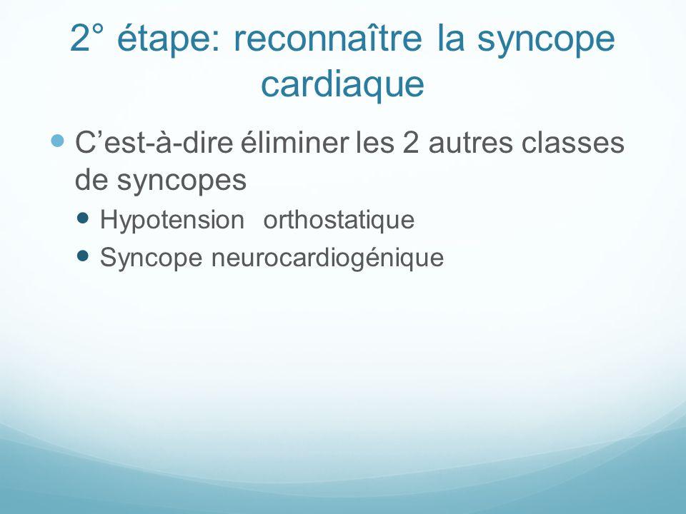 2° étape: reconnaître la syncope cardiaque C'est-à-dire éliminer les 2 autres classes de syncopes Hypotension orthostatique Syncope neurocardiogénique