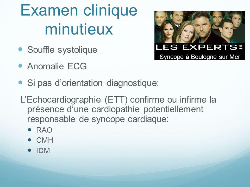 Examen clinique minutieux Souffle systolique Anomalie ECG Si pas d'orientation diagnostique: L'Echocardiographie (ETT) confirme ou infirme la présence