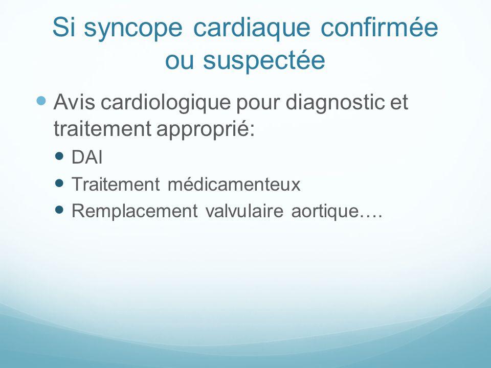 Si syncope cardiaque confirmée ou suspectée Avis cardiologique pour diagnostic et traitement approprié: DAI Traitement médicamenteux Remplacement valvulaire aortique….