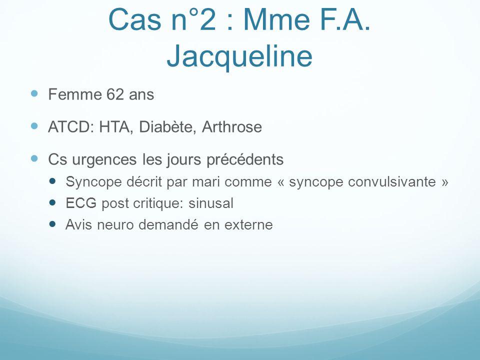 Cas n°2 : Mme F.A. Jacqueline Femme 62 ans ATCD: HTA, Diabète, Arthrose Cs urgences les jours précédents Syncope décrit par mari comme « syncope convu