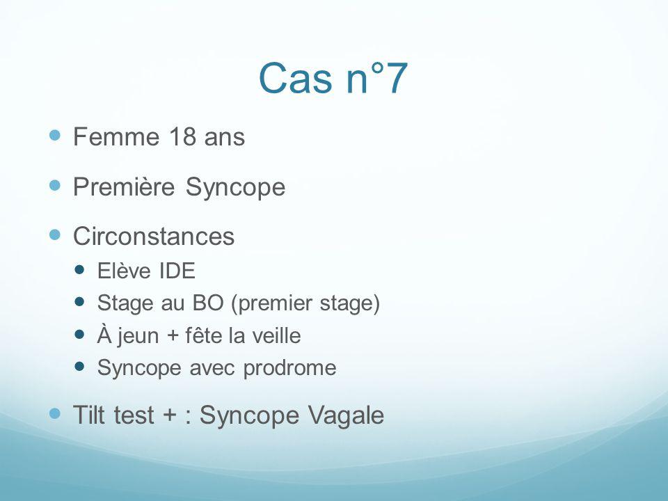 Cas n°7 Femme 18 ans Première Syncope Circonstances Elève IDE Stage au BO (premier stage) À jeun + fête la veille Syncope avec prodrome Tilt test + :