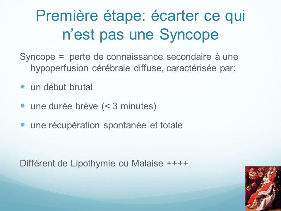 Première étape: écarter ce qui n'est pas une Syncope Syncope = perte de connaissance secondaire à une hypoperfusion cérébrale diffuse, caractérisée pa