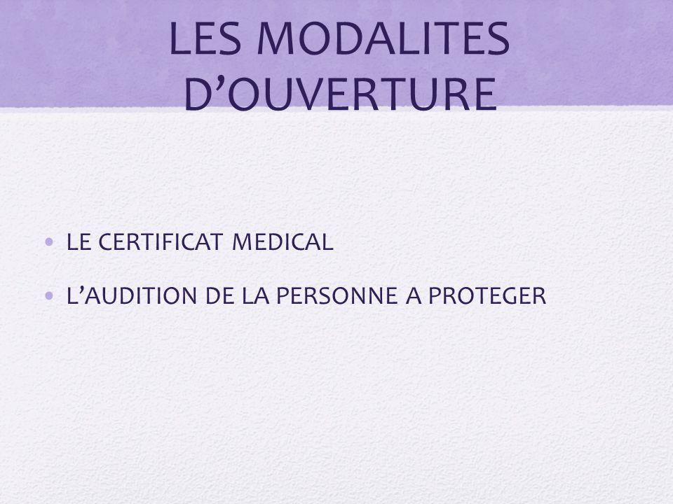 LES MODALITES D'OUVERTURE LE CERTIFICAT MEDICAL L'AUDITION DE LA PERSONNE A PROTEGER