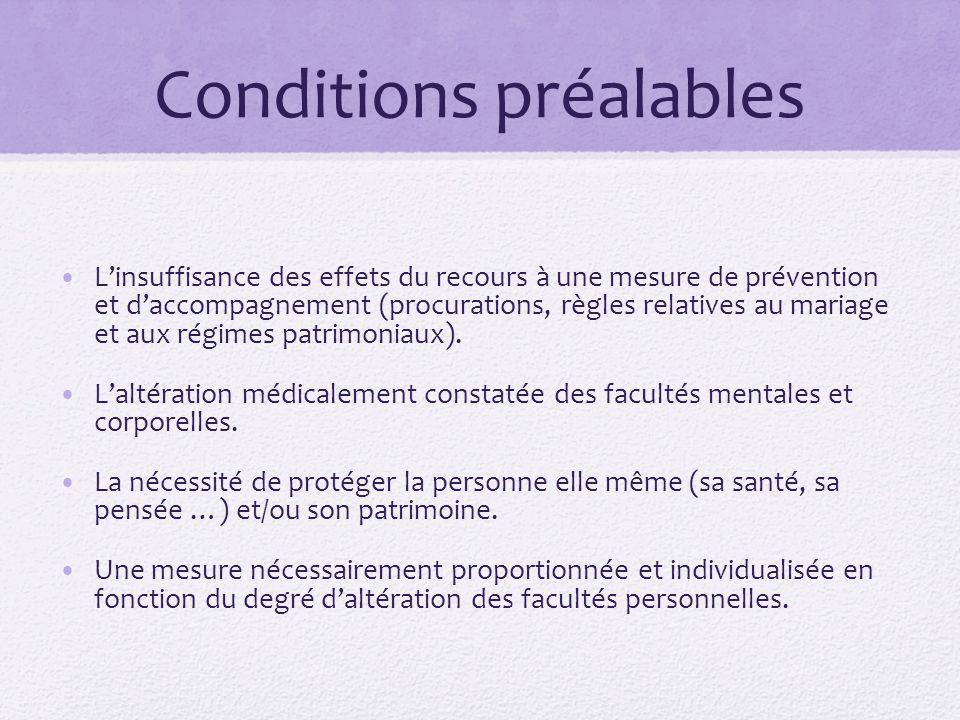 Conditions préalables L'insuffisance des effets du recours à une mesure de prévention et d'accompagnement (procurations, règles relatives au mariage e
