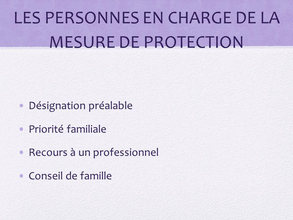 LES PERSONNES EN CHARGE DE LA MESURE DE PROTECTION Désignation préalable Priorité familiale Recours à un professionnel Conseil de famille