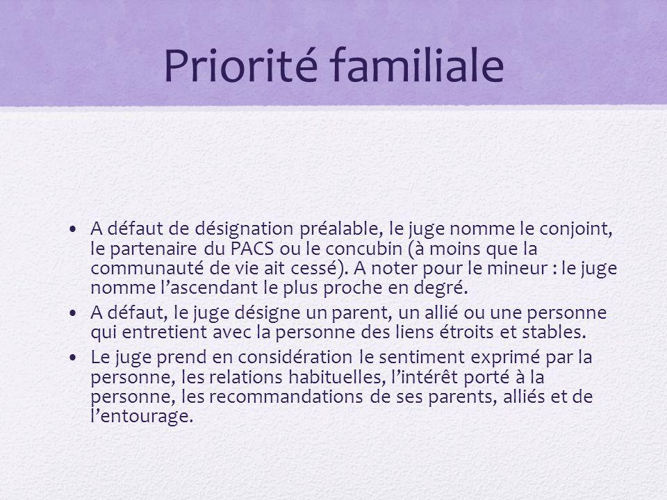 Priorité familiale A défaut de désignation préalable, le juge nomme le conjoint, le partenaire du PACS ou le concubin (à moins que la communauté de vi