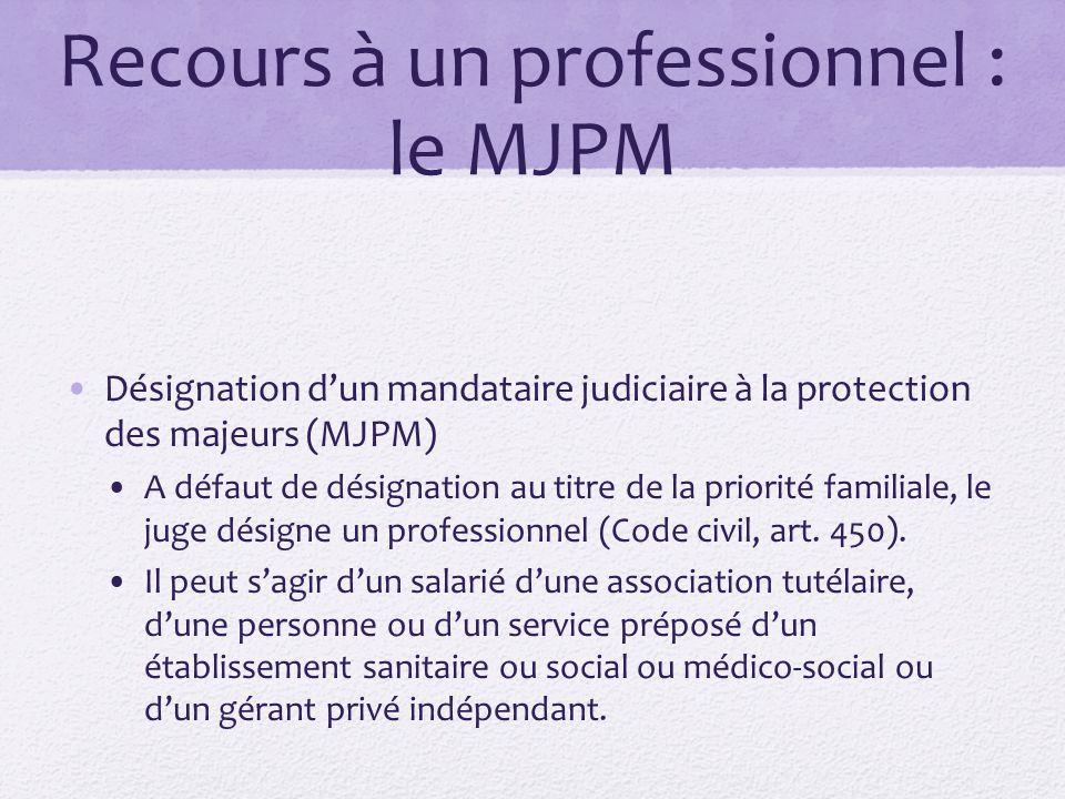 Recours à un professionnel : le MJPM Désignation d'un mandataire judiciaire à la protection des majeurs (MJPM) A défaut de désignation au titre de la