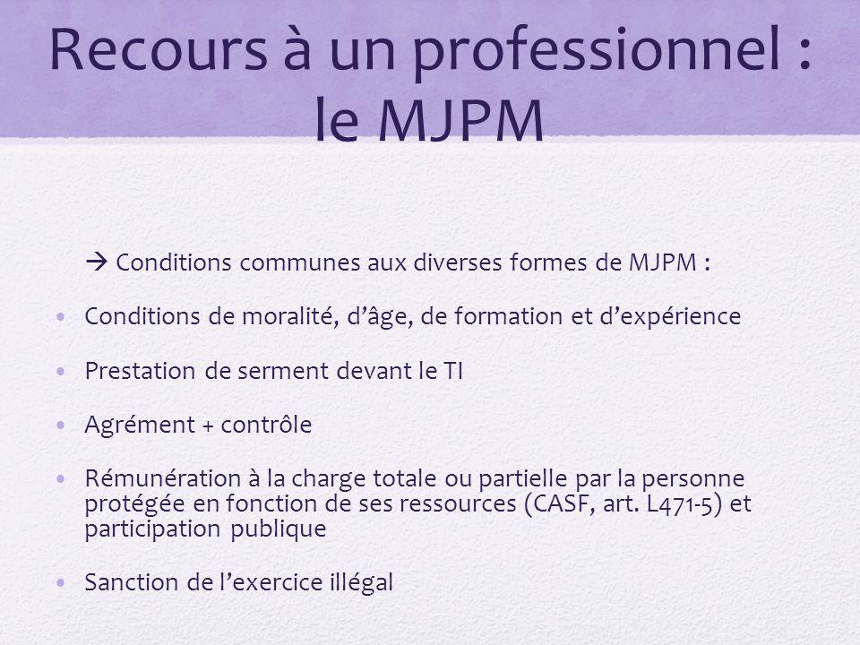 Recours à un professionnel : le MJPM  Conditions communes aux diverses formes de MJPM : Conditions de moralité, d'âge, de formation et d'expérience P