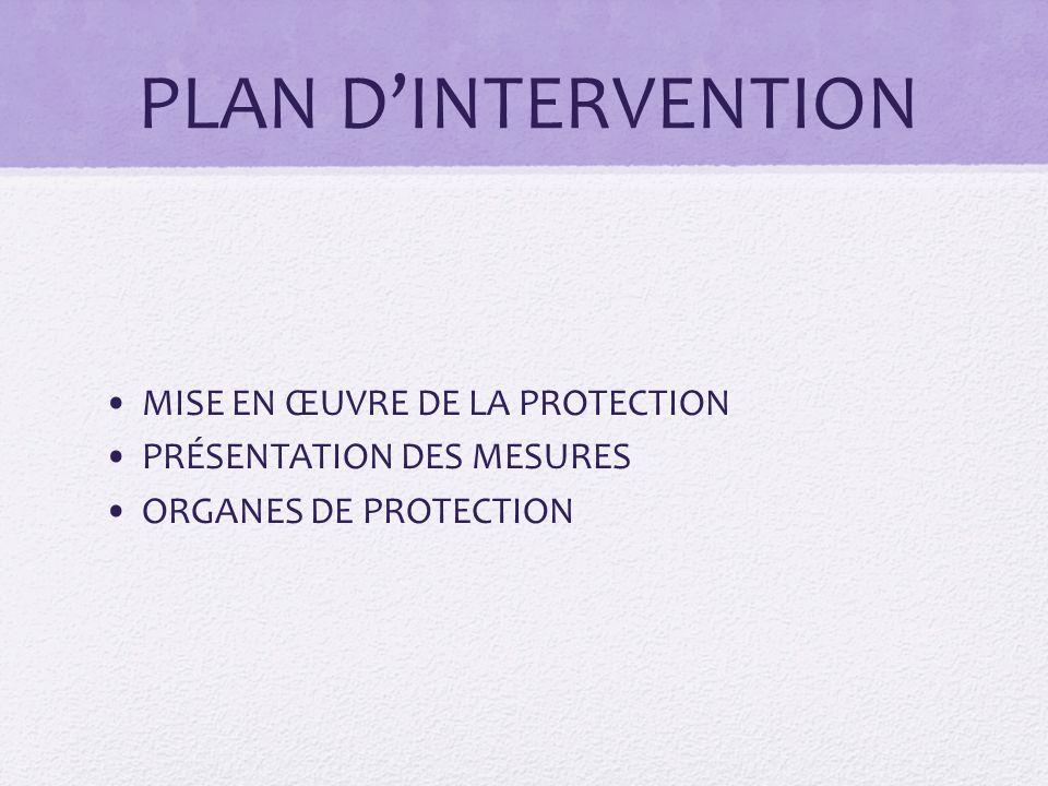 PLAN D'INTERVENTION MISE EN ŒUVRE DE LA PROTECTION PRÉSENTATION DES MESURES ORGANES DE PROTECTION