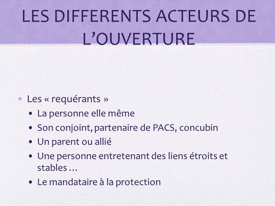 LES DIFFERENTS ACTEURS DE L'OUVERTURE Les « requérants » La personne elle même Son conjoint, partenaire de PACS, concubin Un parent ou allié Une perso