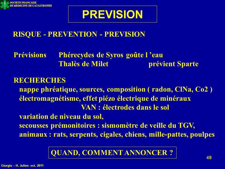 SOCIETE FRANCAISE DE MEDECINE DE CATASTROPHE 49 PREVISION RISQUE - PREVENTION - PREVISION Prévisions Phérecydes de Syros goûte l 'eau Thalès de Miletp
