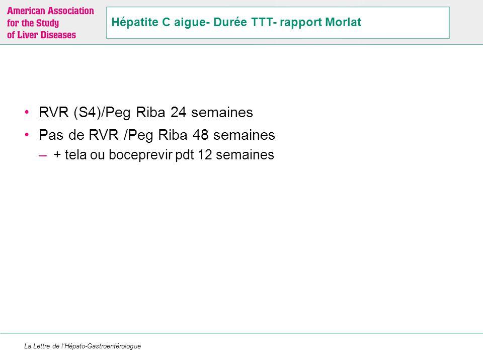 La Lettre de l'Hépato-Gastroentérologue Hépatite C aigue- Durée TTT- rapport Morlat RVR (S4)/Peg Riba 24 semaines Pas de RVR /Peg Riba 48 semaines –+
