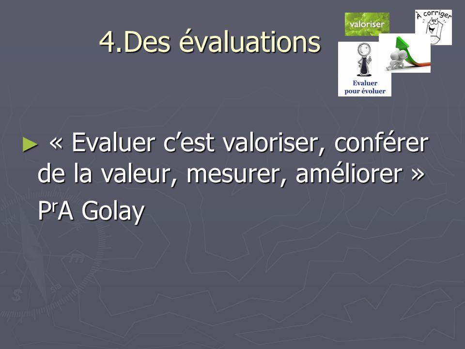 4.Des évaluations ► « Evaluer c'est valoriser, conférer de la valeur, mesurer, améliorer » P r A Golay