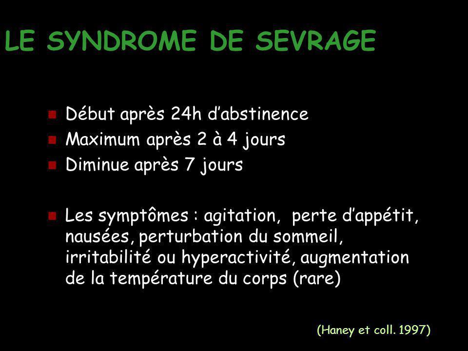 LE SYNDROME DE SEVRAGE Début après 24h d'abstinence Maximum après 2 à 4 jours Diminue après 7 jours Les symptômes : agitation, perte d'appétit, nausée