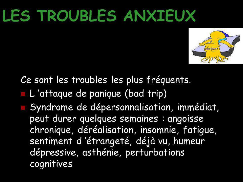LES TROUBLES ANXIEUX Ce sont les troubles les plus fréquents. L 'attaque de panique (bad trip) Syndrome de dépersonnalisation, immédiat, peut durer qu