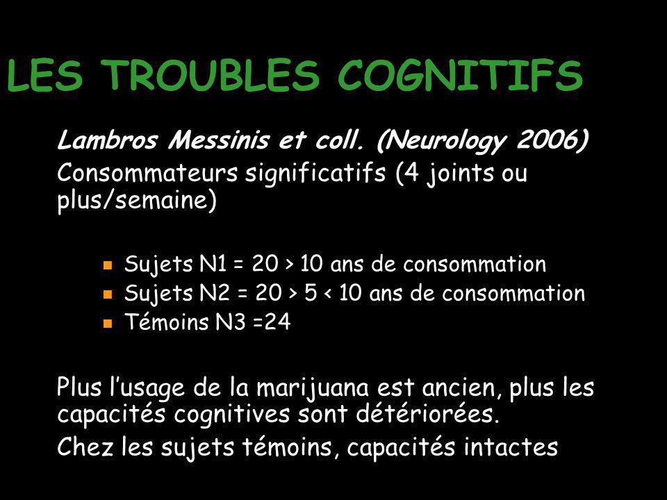 LES TROUBLES COGNITIFS Lambros Messinis et coll. (Neurology 2006) Consommateurs significatifs (4 joints ou plus/semaine) Sujets N1 = 20 > 10 ans de co