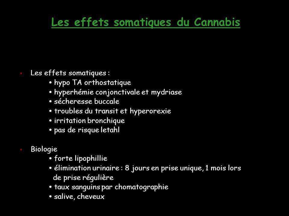 Les effets somatiques du Cannabis  Les effets somatiques :  hypo TA orthostatique  hyperhémie conjonctivale et mydriase  sécheresse buccale  trou