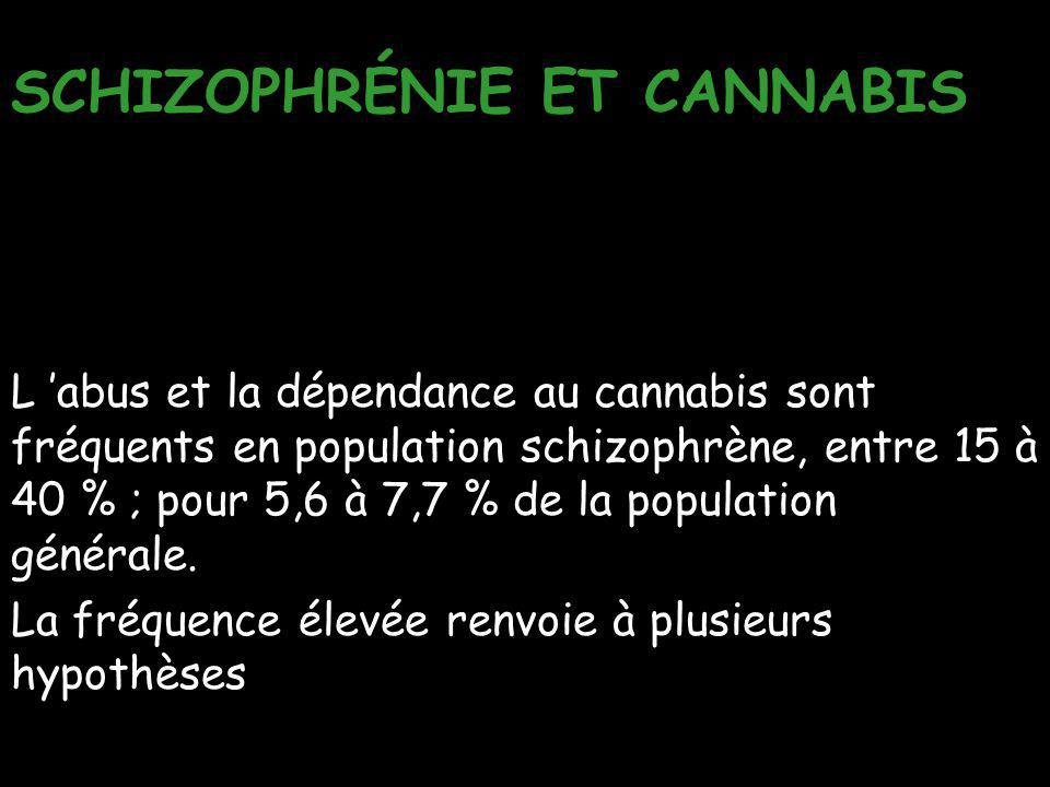 SCHIZOPHRÉNIE ET CANNABIS L 'abus et la dépendance au cannabis sont fréquents en population schizophrène, entre 15 à 40 % ; pour 5,6 à 7,7 % de la pop