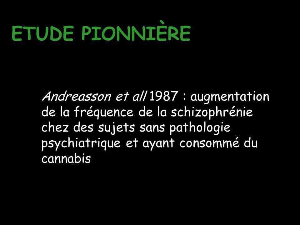 ETUDE PIONNIÈRE Andreasson et all 1987 : augmentation de la fréquence de la schizophrénie chez des sujets sans pathologie psychiatrique et ayant conso