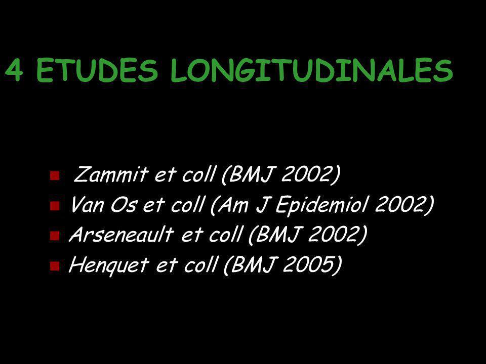 4 ETUDES LONGITUDINALES Zammit et coll (BMJ 2002) Van Os et coll (Am J Epidemiol 2002) Arseneault et coll (BMJ 2002) Henquet et coll (BMJ 2005)
