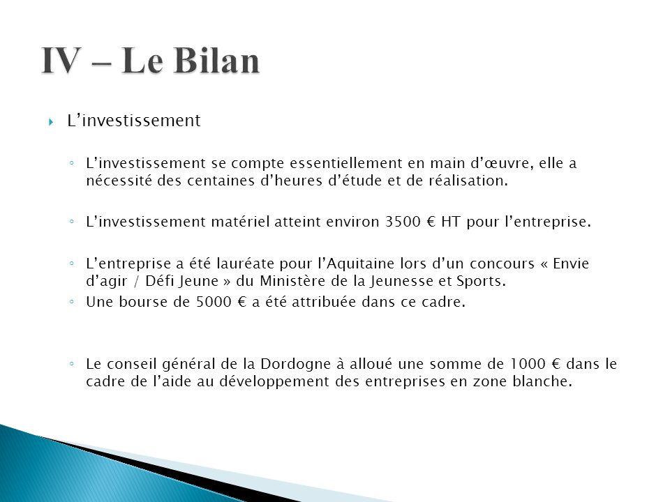  L'investissement ◦ L'investissement se compte essentiellement en main d'œuvre, elle a nécessité des centaines d'heures d'étude et de réalisation. ◦