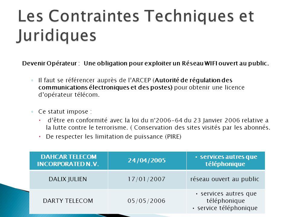 Devenir Opérateur : Une obligation pour exploiter un Réseau WIFI ouvert au public. ◦ Il faut se référencer auprès de l'ARCEP (Autorité de régulation d
