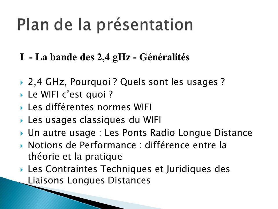 I - La bande des 2,4 gHz - Généralités  2,4 GHz, Pourquoi ? Quels sont les usages ?  Le WIFI c'est quoi ?  Les différentes normes WIFI  Les usages